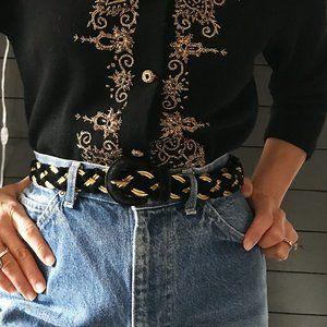 Vintage 80s woven velvet belt metallic braid gold